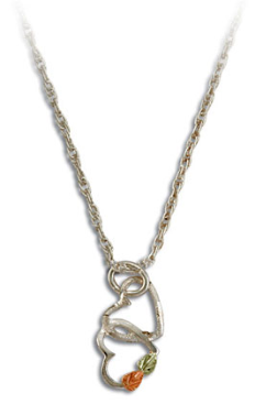 Sterling Silver Dual Heart Pendant with Black Hills Gold Leaves