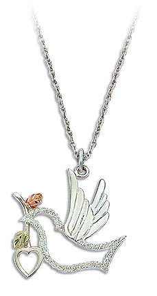 Sterling Silver Dove Pendant with Heart and Black Hills Gold Leaves