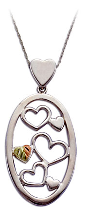 Sterling Silver Heart Pendant with Black Hills Gold Leaves