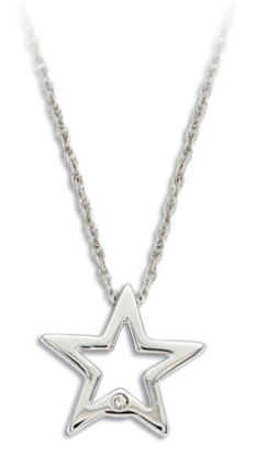 M. Sterling Silver Diamond Star Pendant