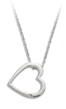 O. Sterling Silver Diamond Heart Pendant
