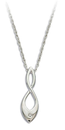 I. Sterling Silver Diamond Pendant