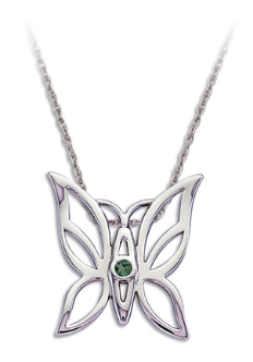 Sterling Silver Butterfly Pendant with Green Montana Sapphire
