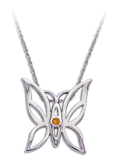 Sterling Silver Butterfly Pendant with Yellow Montana Sapphire