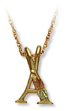 Landstroms Black Hills Gold Initial Pendant with Leaves