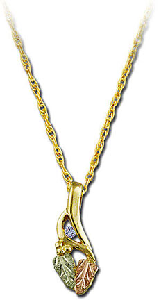 Black Hills Gold Pendant with Leaves and Diamond