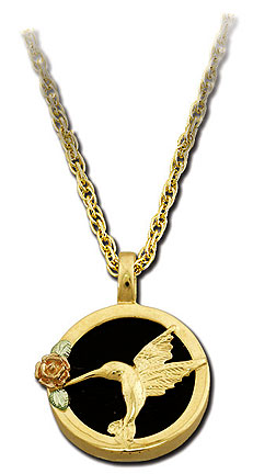 Black Hills Gold and Onyx Hummingbird Necklace with Black Hills Gold Leaves