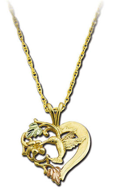 Black Hills Gold Heart Pendant with Hummingbird