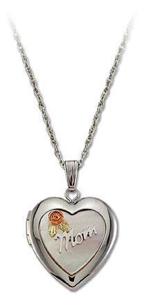 Sterling Silver Mothers Heart Locket with Black Hills Gold Rose and Leaves