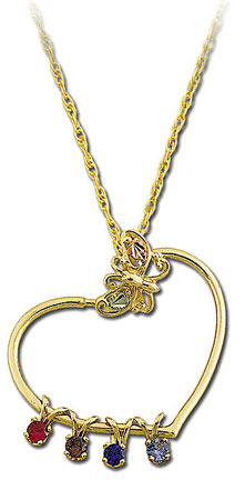 Black Hills Gold Mothers Heart Pendant with Birthstones and Butterfly