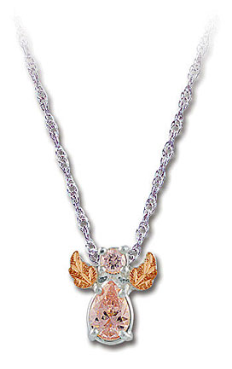 Sterling Silver Angel Pendant with Pink Cubic Zirconia and Black Hills Gold Leaves
