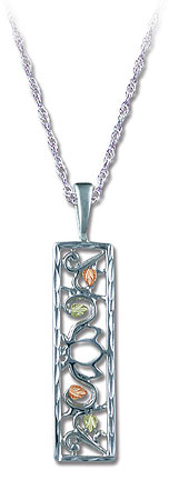 Black Hills Sterling Silver Rectangular Pendant with Leaves