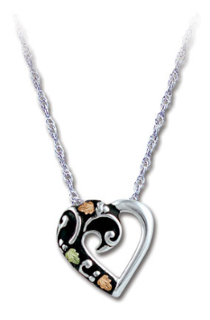 Sterling Silver Antique Heart Pendant with Black Hills Gold Leaves and Diamond