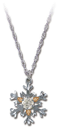 Sterling Silver Snowflake Pendant with Clear Cubic Zirconia