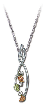 Sterling Silver Pendant with Black Hills Gold Leaves and Diamonds