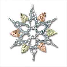 Sterling Silver Snowflake Brooch Pin with Black Hills Gold Leaves