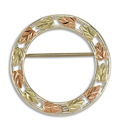 Sterling Silver Circular Brooch Pin with Black Hills Gold Leaves
