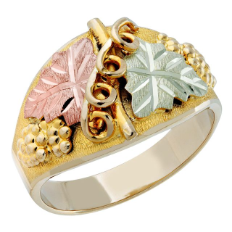 Ladies Classic Black Hills Gold Ring with Large Leaves