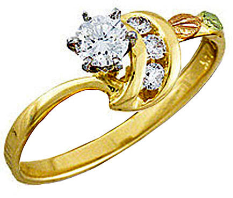 Ladies Black Hills Gold Diamond Engagement Ring
