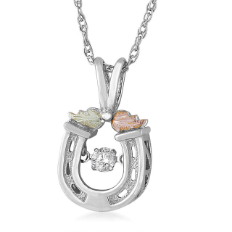 Sterling Silver Horseshoe Pendant with Diamond and Leaves