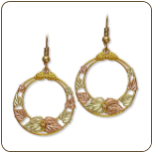 Black Hills Gold Circular Dangle Earrings for Pierced Ears (SKU: 01289)