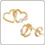 Black Hills Gold Dual Heart Earrings (SKU: 01301)
