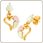 Black Hills Gold Heart Earrings (SKU: 01333)