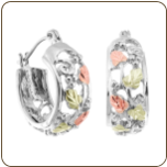 Sterling Silver Earrings with Black Hills Gold Leaves, for Pierced Ears (SKU: 01614SS)