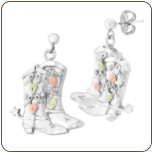 Sterling Silver Cowboy Boot Earrings with Black Hills Gold Leaves, for Pierced Ears (SKU: 01757SS)