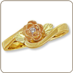Ladies Black Hills Gold Rose Diamond Ring with Leaves (SKU: 02247X)