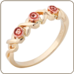 Ladies Black Hills Gold Ring with Roses (SKU: 02725)
