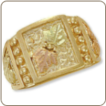 Men's Black Hills Gold Ring with Leaves (SKU: 02737)
