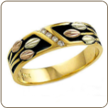 X. Mens or Ladies UNISEX Ring or Wedding Band with Black Hills Gold Leaves and Diamonds (SKU: 02764X)