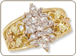 Ladies Black Hills Gold Right Hand Ring, Pointer Ring with Diamond Cluster (SKU: 02892X)