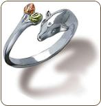 Sterling Silver Dolphin Toe Ring with Black Hills Gold Leaves (SKU: 02928SS)