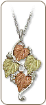 Sterling Silver Ladies Pendant with Black Hills Gold Leaves (SKU: 03232SS)