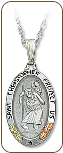 Sterling Silver Saint Christopher Pendant (SKU: 03368SS)