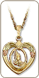 Praying Hands in Heart Pendant, in Black Hills Gold  (SKU: 03387-10K)
