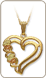 Black Hills Gold Heart Pendant with Split-Leaf Hearts (SKU: 03475)