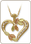Black Hills Gold Diamond Heart Pendant (SKU: 03531)