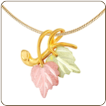 Black Hills Gold Slider Pendant with Leaves (SKU: 03610/SN)