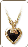Black Hills Gold Necklace with Onyx Heart Pendant (SKU: 03688)