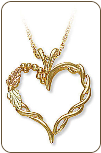 Black Hills Gold Heart Pendant (SKU: 03700)