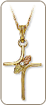 Black Hills Gold Cross Pendant with Diamond (SKU: 03703X)