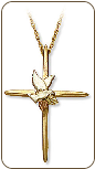 Landstroms Black Hills Gold Cross Pendant with Sterling Silver Dove (SKU: 03730)