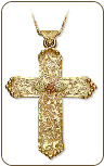 Black Hills Gold Cross Pendant wih Rose (SKU: 03759)