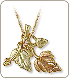 Black Hills Gold Pendant with Leaves (SKU: 03782)