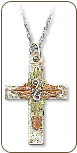 Sterling Silver Cross Pendant with Black Hills Gold Leaves (SKU: 06002SS)