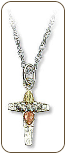 Sterling Silver Cross Pendant with Black Hills Gold Leaves (SKU: 06003SS)