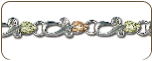 Sterling Silver Bracelet with Black Hills Gold Leaves (SKU: 07050SS)